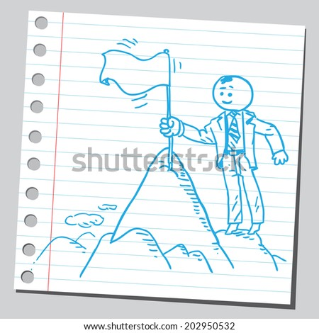 Businessman putting flag on top of hill - stock vector