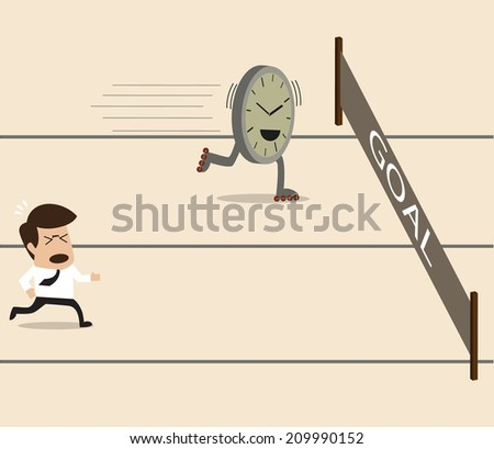 Businessman racing on the running track with time - stock vector