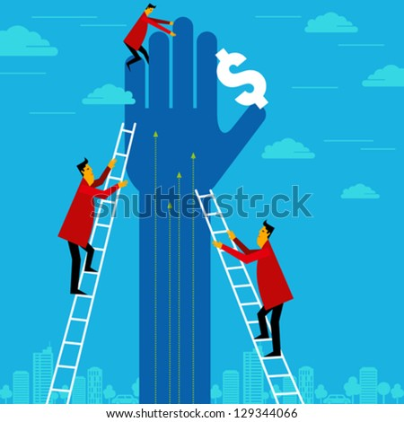 businessman reaching for dollar - stock vector