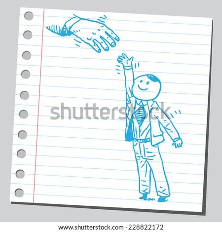 Businessman reaching hand - stock vector