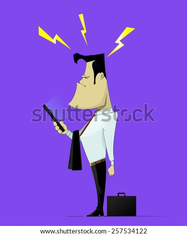 Businessman read bad news in the news line on his mobile device - stock vector