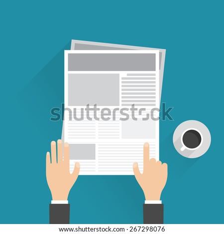 businessman reading a newspaper, Vector illustration - stock vector