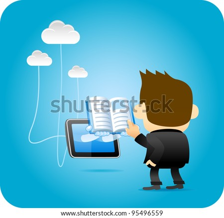 Businessman reading from Tablet PC - stock vector