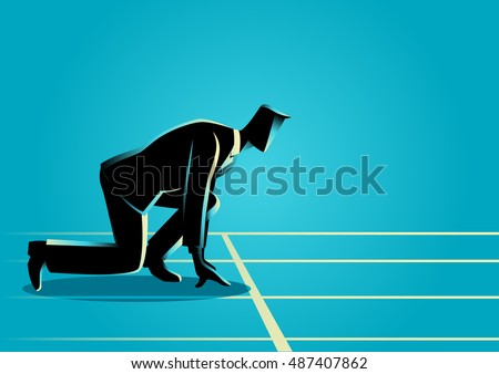 Businessman ready to sprint on starting line. Starting career concept