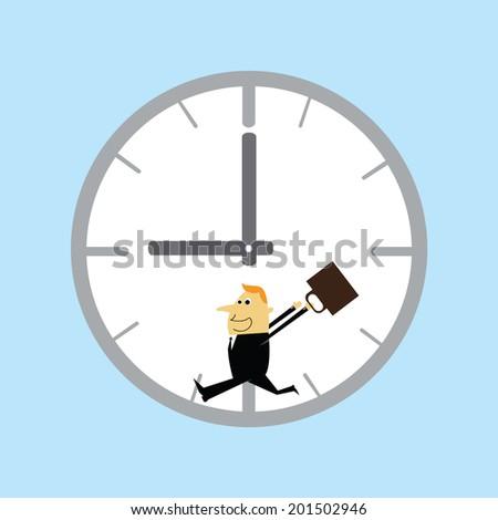 Businessman reels clock - stock vector