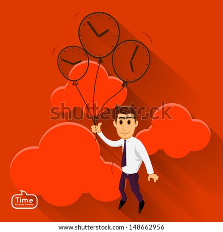 Businessman relax on the sky and clound by balloon good time  - stock vector