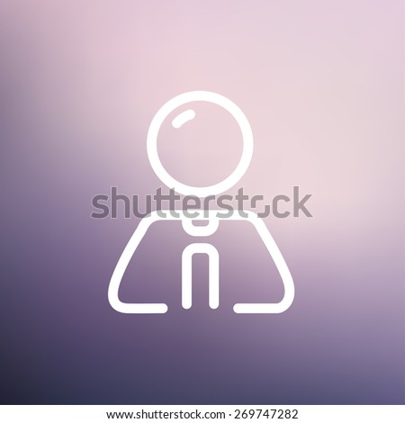 Businessman relaxing icon thin line for web and mobile, modern minimalistic flat design. Vector white icon on gradient mesh background. - stock vector
