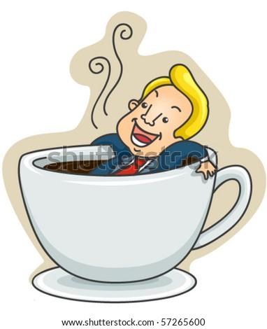 Businessman relaxing inside hot drink - Vector - stock vector