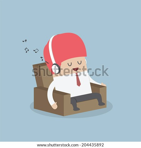 Businessman relaxing on sofa and listening to his headphones, VECTOR, EPS10 - stock vector