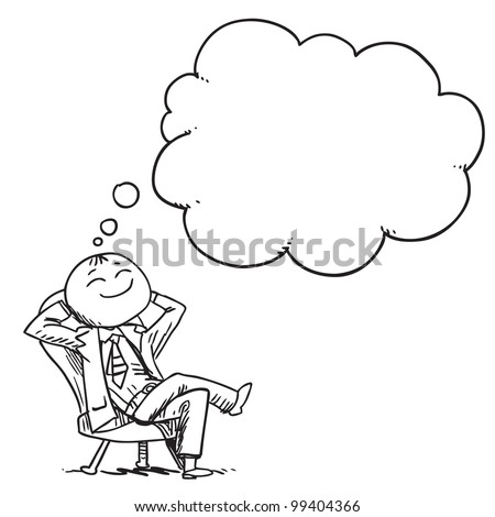 Businessman resting and dreaming - stock vector