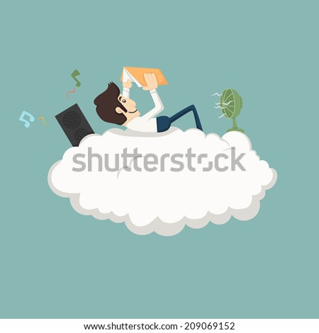 Businessman resting on a cloud  , eps10 vector format - stock vector