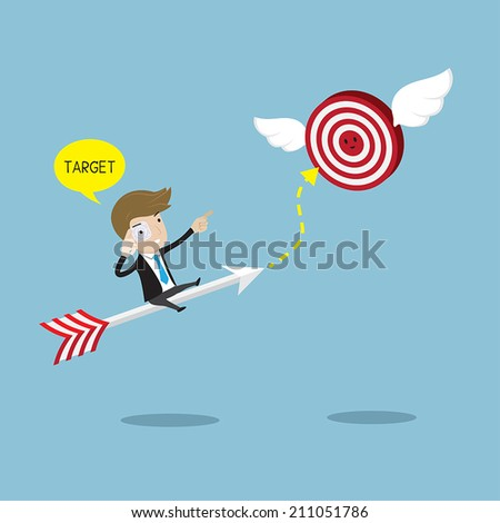 Businessman rides on arrow with scanner eyeglass  searching  target. Vector  illustration for success concept. - stock vector