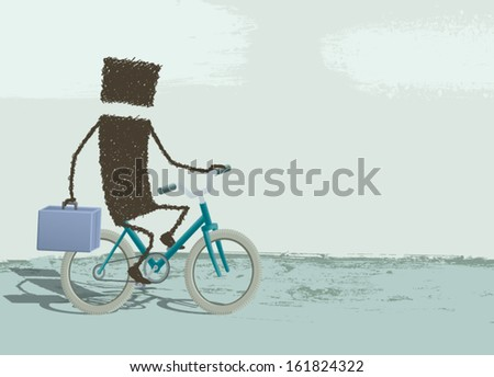 Businessman riding a bike. A businessman riding a bike and taking the briefcase in hand. EPS8 Illustration. - stock vector