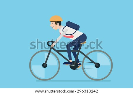 Businessman riding bicycle to work. Flat design. - stock vector