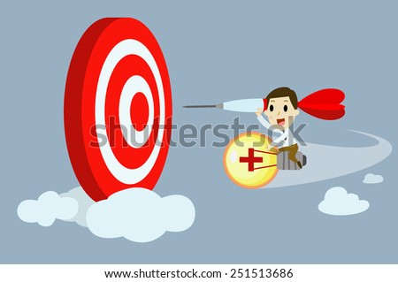 Businessman riding bulb going to target. - stock vector
