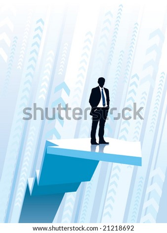 Businessman riding on a large climbing graph, conceptual business illustration. - stock vector