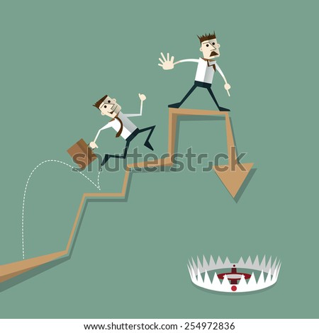 Businessman risk of investment mistakes. business concepts - stock vector