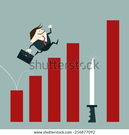Businessman risk of investment mistakes.Losing Profit risk and Investment danger as a financial and business concept - stock vector