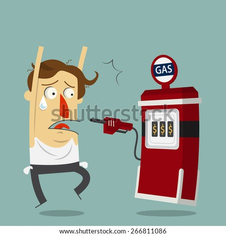 Businessman rob by gas station. Cartoon character. Vector.  Illustration - stock vector