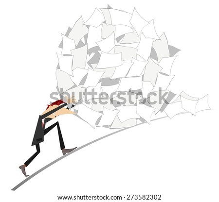 Businessman rolls up a big ball of papers   - stock vector