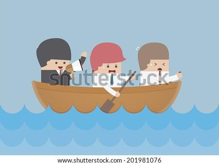 Businessman rowing team, Teamwork and Leadership concept, VECTOR, EPS10 - stock vector