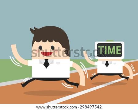businessman run overtime - stock vector