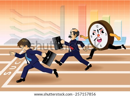 Businessman running a race against time - stock vector