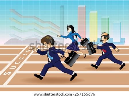 Businessman running a race to success - stock vector
