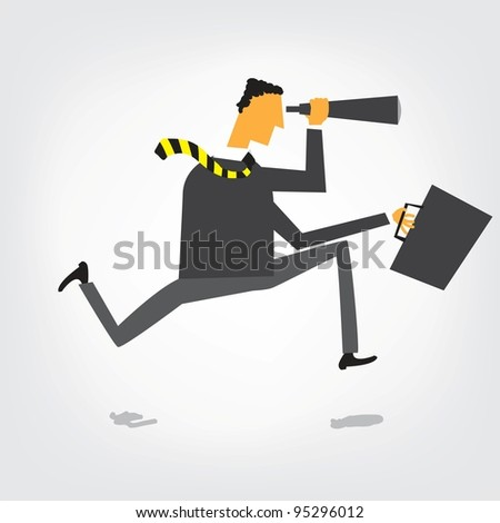 Businessman running and looking for - stock vector