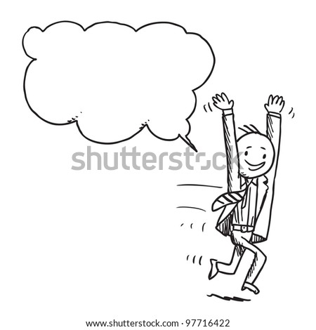Businessman running and speaking something - stock vector