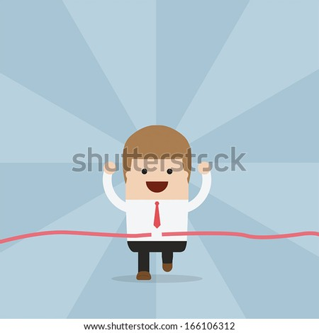 Businessman running at the finish line, VECTOR, EPS10 - stock vector