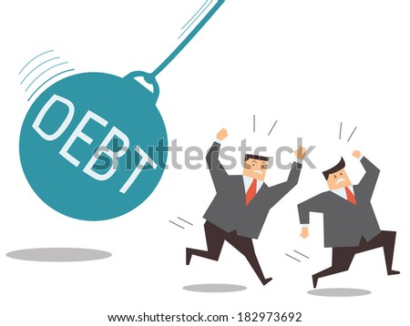 Businessman running away from huge pendulum with message 'debt', financial crisis in debt concept.  - stock vector