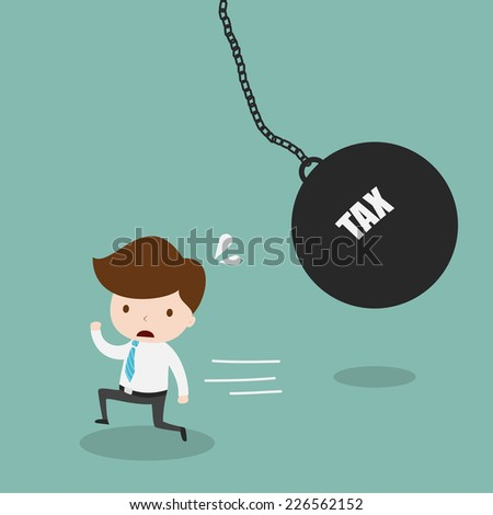 Businessman running away from huge pendulum with message tax,Vector EPS10. - stock vector
