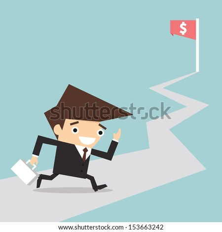 Businessman running to goal