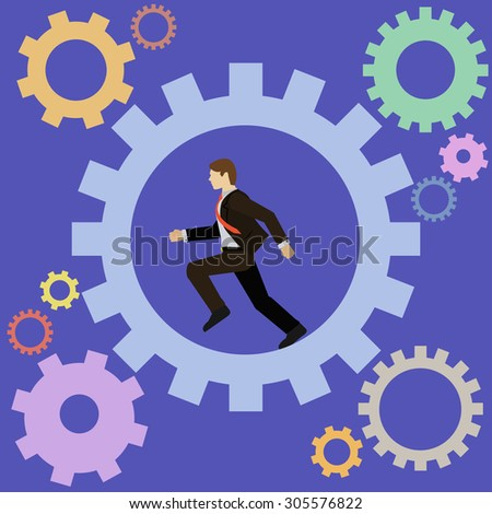 Businessman running turning the cogs of the company mechanism vector concept