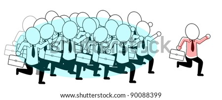 businessman running with one person leading the way - stock vector
