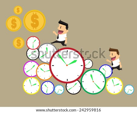 businessman runs in a hurry runs on time. Through the business day on a row of time clocks.vector - stock vector