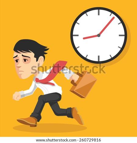 Businessman runs. Vector flat illustration - stock vector