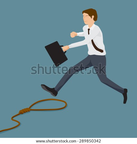 Businessman rushing and Rope trap, Business concept, Simple and flat design style. - stock vector