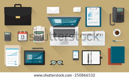 Businessman's desk with laptop, tablet smartphone and stationery - stock vector