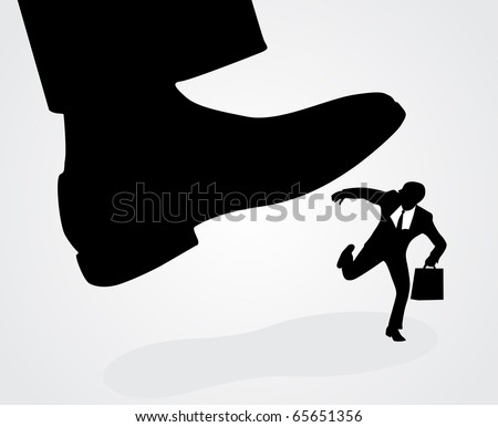 Businessman's foot stepping on tiny businessman