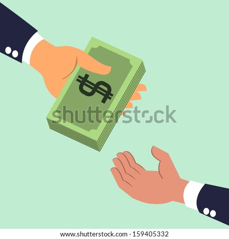 Businessman's hand giving money banknotes to each other. Business concept on giving, exchanging, sharing, receiving, or corporation about money. Vector illustration. - stock vector