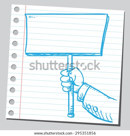 Businessman's hand holding empty banner - stock vector