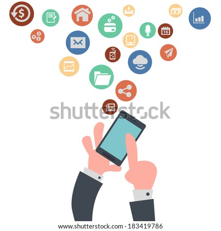 Businessman's Hands Using Mobile Phone - stock vector