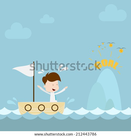 Businessman sailing to goal island. - stock vector