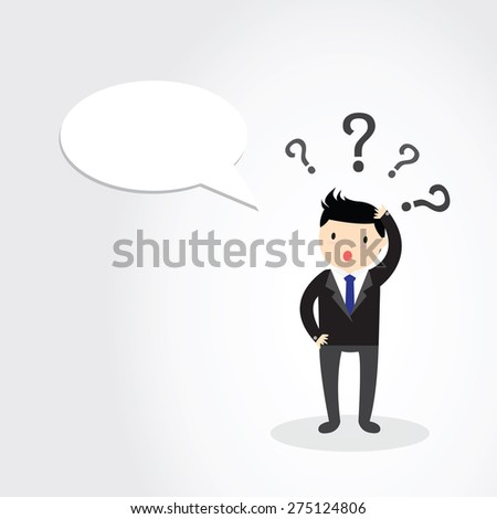 Businessman scratching his head with question marks. - stock vector