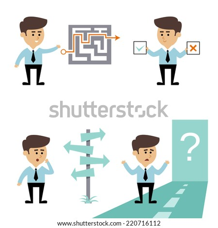 Businessman search decision concept with man with labyrinth puzzle and crossroads vector illustration - stock vector
