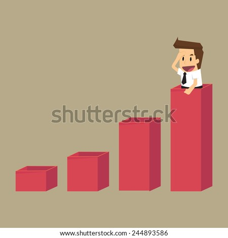 Businessman search on tower graph.vector - stock vector