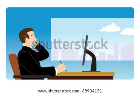 Businessman seated at desk talking on cell phone