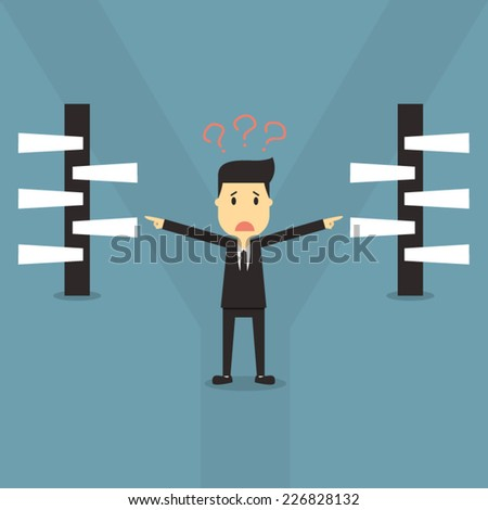 businessman select choices - stock vector